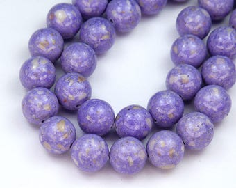 Riverstone Dyed Beads, Light Purple, 8mm Round - 15 Inch Strand - eGR-RV616-8