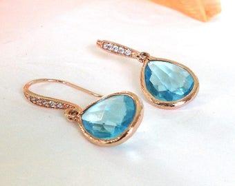 Rose Gold aquamarine earrings, Rose Gold earrings, Aquamarine bridesmaid Earrings, wedding earrings, Bridesmaid gift, blue earrings