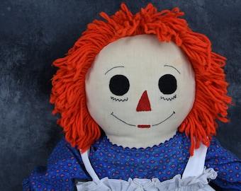 Vintage Handmade Raggedy Ann Doll - Large 36 Inch
