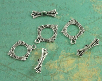 "Antique Silver Fancy Baroque Diamond Toggles - Package of 6 Sets - Measures 5/8"" - Antique Silver Finish"