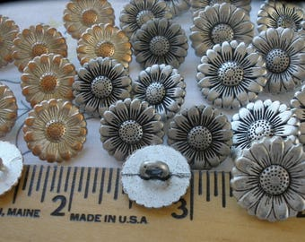 Morning Flower metal buttons shank 15MM 17mm Antique silver or white wash copper finish 23L 28L jewelry clasp 3MM hole