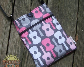 Guitar Print Bag in Gray with Pink and White