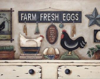 Farm Fresh Eggs, Rustic Shelf Scene. Whimsical Chicken Egg Rooster still life print. New England style Primitive Folk Art byDonna Atkins.
