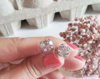 Orecchini a perno, orecchini punto luce, orecchini cristallo, vintage, bottone gioiello, orecchini anni 40, sposa, festa della mamma