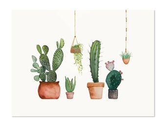 Watercolor Cacti and Succulents Original Watercolor Painting