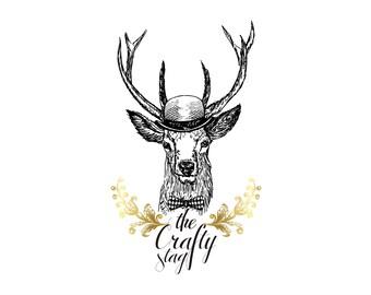 Sketch Logo Design, Designer Logo, Custom Logo Design, Antler Logo, Business Logo, Royal Logo, Boutique Logo, Hand Drawn Logo
