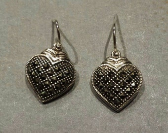 Sterling Silver .925 Marcasite Heart Earrings