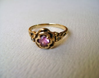 vintage 10k gold rose ring, size 6 and 1/2