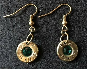 Bullet shell earings, per set