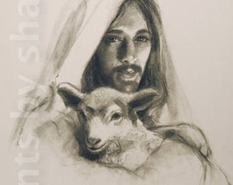 Jesus with Lamb. The Good Shepherd
