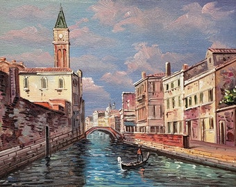 Venice Canal ,  8x10  100% Hand Painted  Oil Painting on Canvas,
