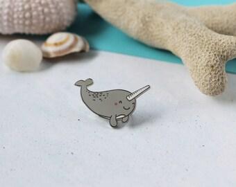 Happy Narwhal Enamel Lapel Pin | cute hat pin badge