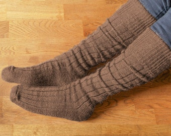 Goat Fibre Knee Length Walking Socks with a rib pattern leg and cushion pile sole for warmth and comfort
