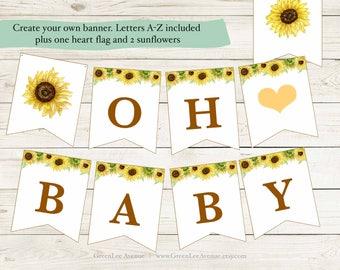 DIY Custom Sunflower Banner, Baby Shower Banner, Brown Letters, Printable, gla0023