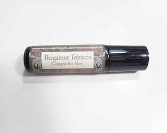 Bergamot Tobacco Cologne for Men - Earthy Sandalwood and Sweet Vanilla - 2oz Spray Cologne, Roll-On or Body Mist for Men