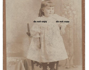 little toddler girl standing on chair, buckle shoes, cabinet card photo, antique photograph, vintage photography