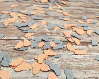 Baby Shower Confetti, Gender Reveal Party, Table Scatter, Table Sprinkle, Footprint confetti, Paper Confetti, Peach and Grey Baby feet decor