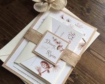 Rustic Wedding Invitation, Pinecone Wedding Invitation, Winter Wedding Invitation, Burlap Wedding Invitaton, Neutral Wedding Invitation
