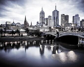 Melbourne Photograph Wall Art Prints City Black and White Wedding Gift for Son Travel Art Princes Bridge Flinders Street FREE POST AUSTRALIA