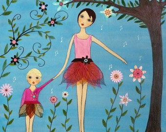 Mother Daughter Painting, Motherhood Art, Mother and Child, Whimsical Folk Art