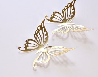 14 Gold Butterfly Wedding Decoration, Gold Wedding Butterflies, Gold Paper Butterflies, Gold Butterfly Wall Decals