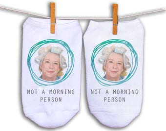 Custom Printed Photo Socks - Print Photo of a Person's Face on a Pair of No-Show Socks - Assorted Designs to Choose From - 3 sizes