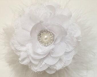 Bridal Flower Hair Clip, White, Ivory,Peach, Silver Gray Flower Pearl Marabou Chiffon Lace Flower Girl Hair Flower Clip,