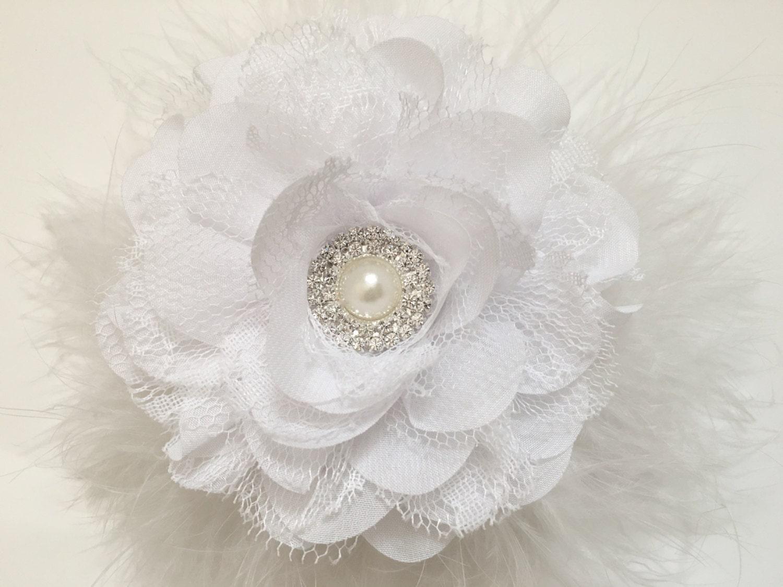 Bridal flower hair clip white ivorypeach silver gray flower fancygirlboutiquenyc mightylinksfo