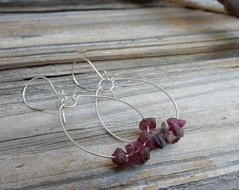 Silver Pink Earrings. Silver Hoops. Pink Tourmaline Hoops. Pink Tourmaline Earrings. Raw Tourmaline Stone. Tourmaline Earrings. Gypsy Hoops