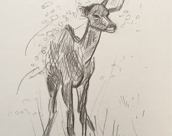 South African Kudu in Bushveld - Original Fine Art Pencil Graphite Drawing Sketch on Paper - Art Artwork Painting Fine Art