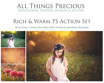 40 Actions. 8 Textures. 4 Gold Dust Overlays.  Fine Art Digital RICH & WARM Photoshop ACTIONS Set.