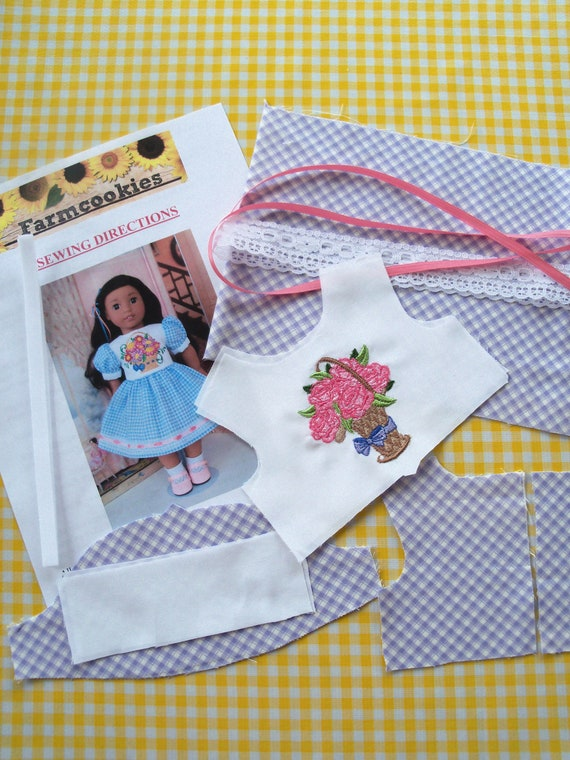 "18"" Size /COMPLETE SEWING KIT for 18 Inch Doll Clothes / Embroidered Dress / Fits Like American Girl Doll Clothes"