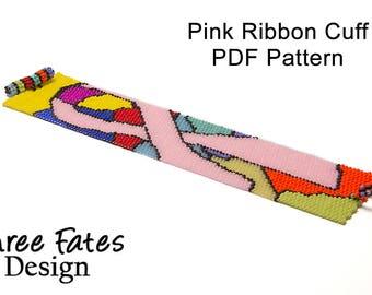 Seed Bead Pattern, Peyote Bracelet, Pink Ribbon, Beaded Bracelet, Seed Bead Pattern, PDF Pattern, Instant Download, Cuff Bracelet