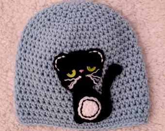 Grumpy Black Cat hat