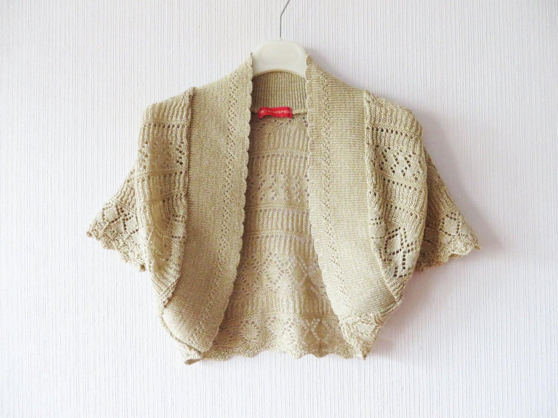Beige Crochet Bolero Jacket Creamy Brown Embroidered Cropped