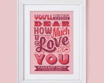 How Much I Love You - Cross Stitch Pattern (Digital Format - PDF)