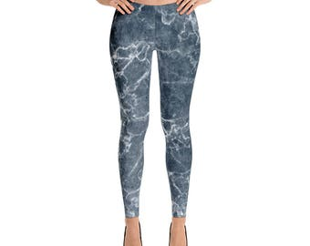Leggings,Marble,Blue,Womens,Yoga,Workout,Tights,Pants,Stretch,Spandex,Print,Pattern,Stretchy,Clothing,Fashion,Unique,Printed,Design