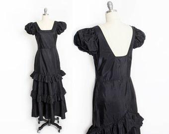 Vintage 1940s Dress - Black Taffeta Ruffled Princess Sleeve Full Length Gown 40s - Small S