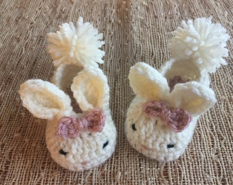 Bunny slippers, baby gift, layette, crocheted bunny shoes, baby girl accessory