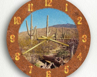Saguaro Cactus Beautiful Western Theme Silent Wall Clock