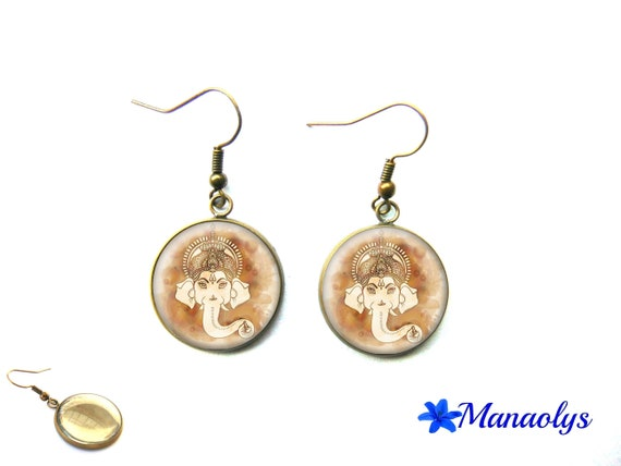 God, India, bronze Ganesh, ganesh earrings, cabochons glass 3271