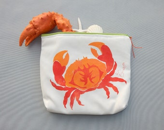 """EVERYTHING BAG Crab zippered case tablet cosmetic makeup 9""""x12""""x2.5"""" travel pouch toiletry purse organizer painted lined washable clutch"""