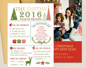 Christmas Cards - Holiday Photo Cards White - Year In Review Christmas Photo Card, Printed Or Printable File Free Shipping ISE0021