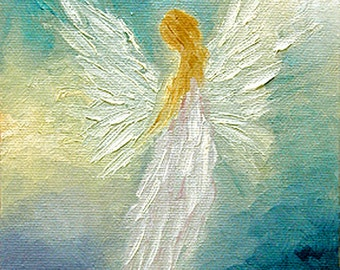Angel Print Poster, Guardian Angel, Original Angel Art, Wall Art Wall Decor, Spiritual Gift,