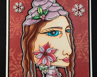 Oddleigh Poinsettia Elf & Snowflakes digi stamp set of 2 images by LeighSBDesigns
