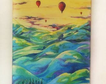 Balloon Landscape Original Oil Painting in Canvas