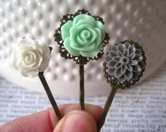 Bobby Pin Set, Mint Green, White and Gray Flower Hairpins, Wedding Hair Accessory, Bridesmaid Gift, Stocking Stuffer, Small Gift