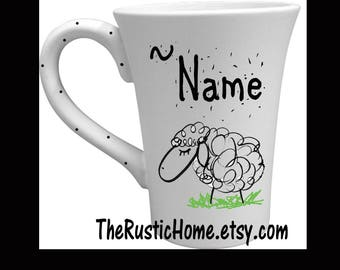 Custom sheep mug pottery mug black and white personalized mug farmer rancher 4-H gift made to order 12 ounce mug custom pottery dinnerware