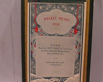 1938 Weekly Memo Calendar River Fall (WI) Journal