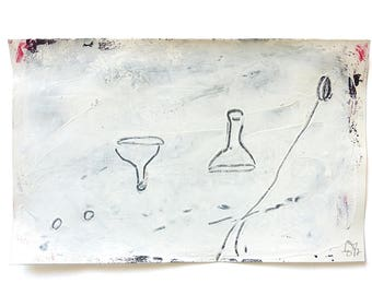 "game figures, mixed media on paper,  5.3"" x 8.5"", Contemporary Minimalistic Abstract Figures Drawing, black, white"